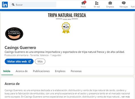 Página Linkedin de Casings Guerrero
